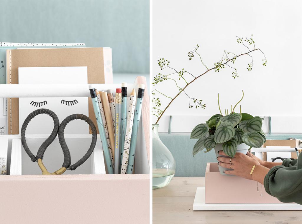DIY opbergbak maken voor je werkplek met Tanja van Hoogdalem