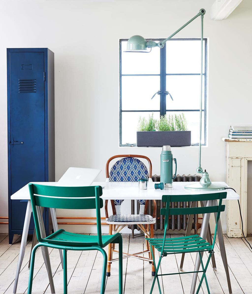 chaises jardin turquoise