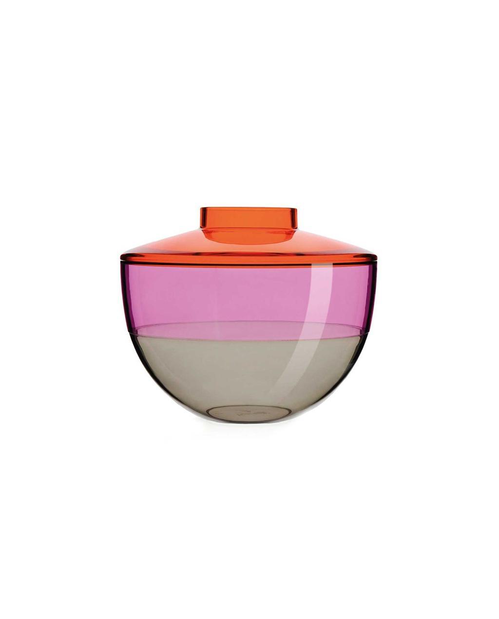 Glazen vaas met oranje roze en grijze kleuren