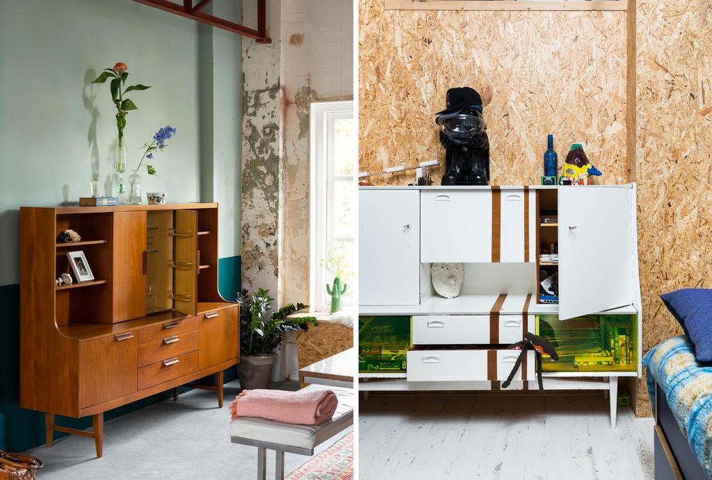 OSB platen in huis en een vintage kast