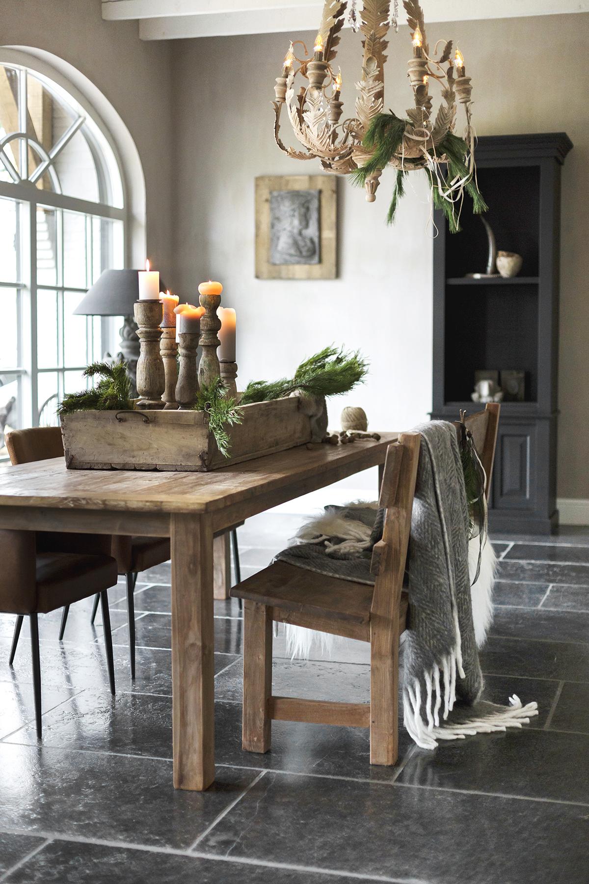 pronkstuk kerst houten bak kandelaars