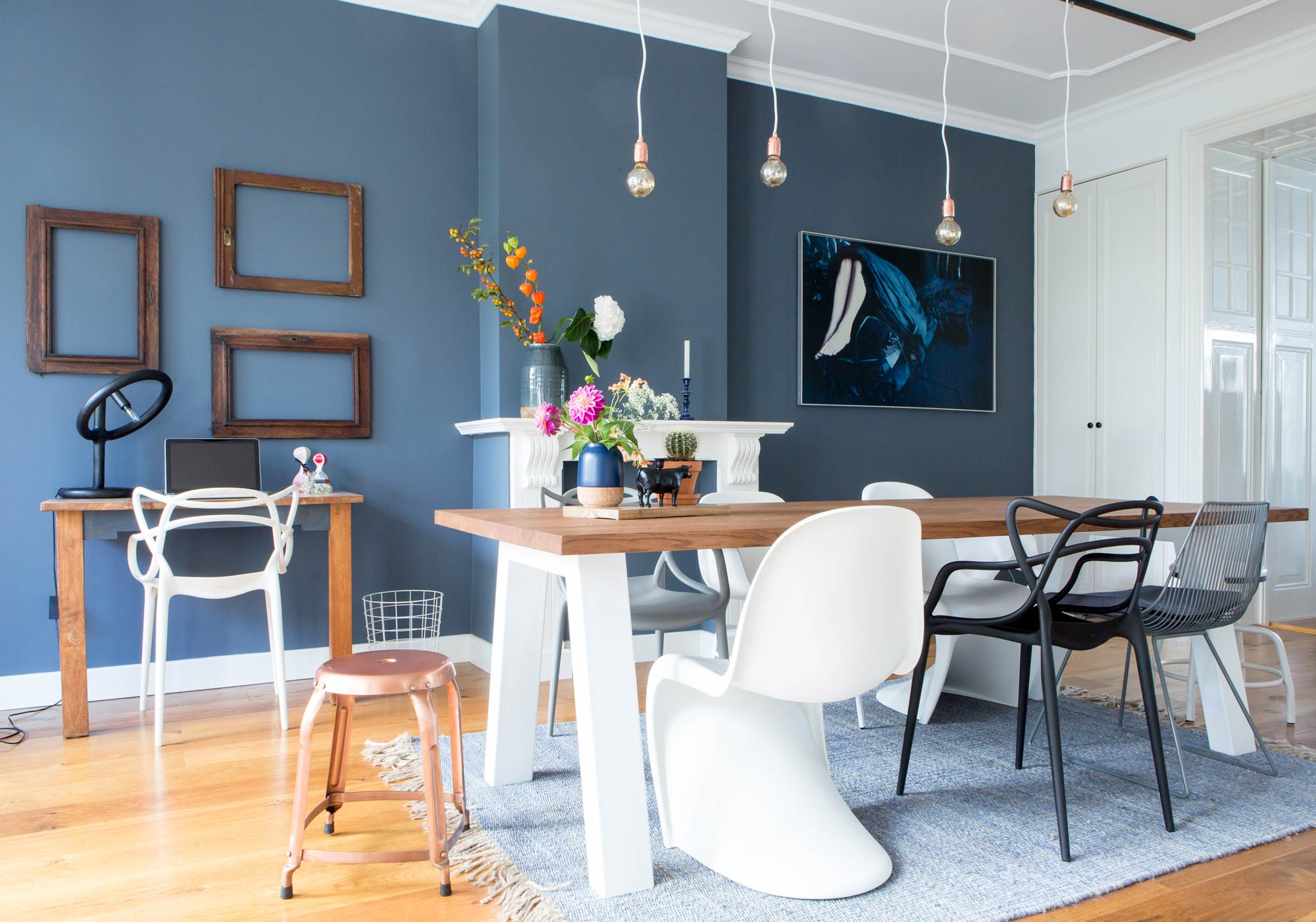 eetkamer blauw