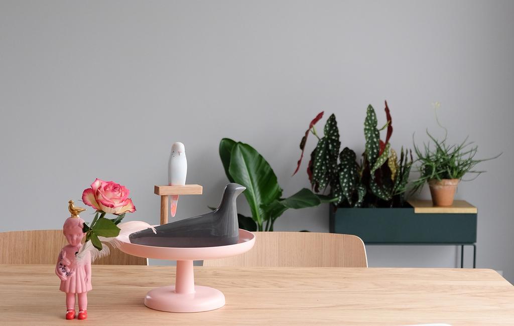tafel met roze items en planten van PRCHTG voor bloggerscontest
