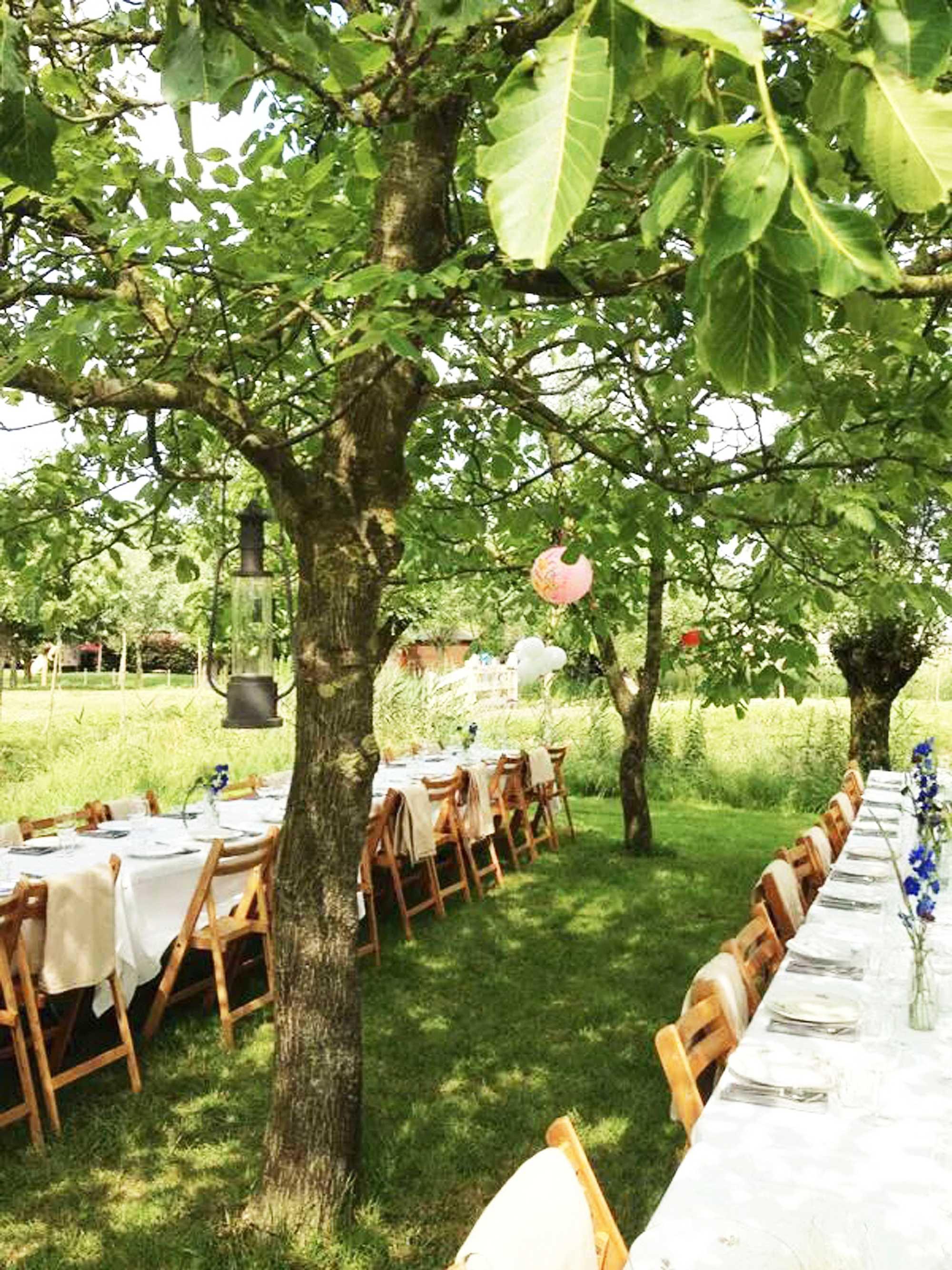 lange tafels voor tuinfeest