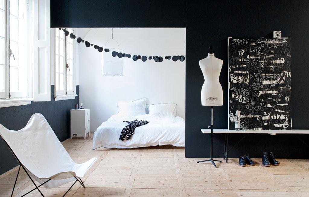 zwart-wit slaapkamer