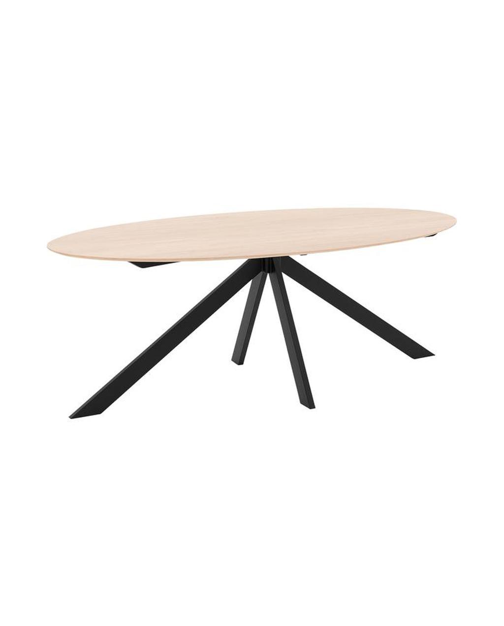 Eettafel ovaal met hout en zwarte onderstel