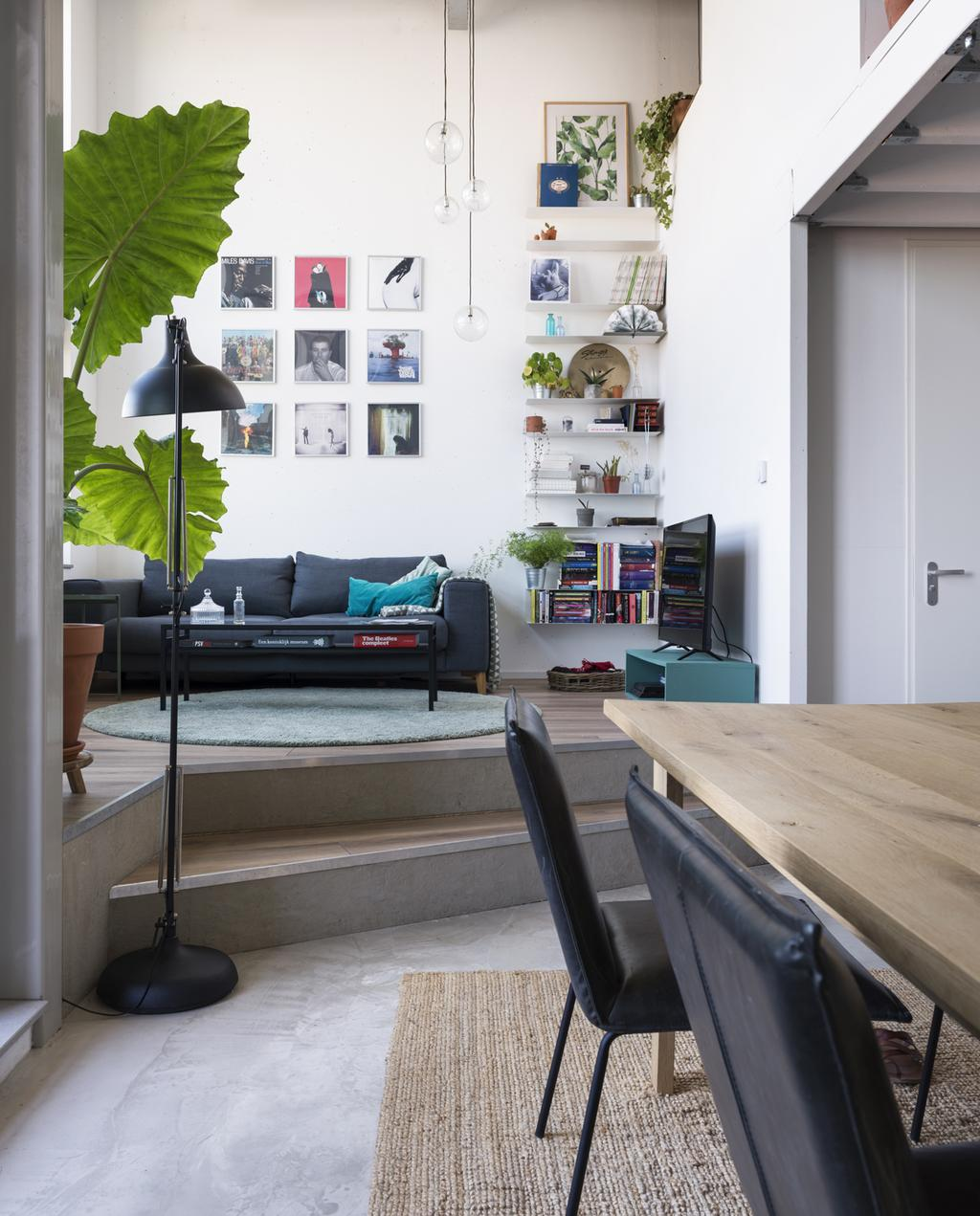 kleine woning glazen hanglamp, lange tafel, grote plant en donkere bank