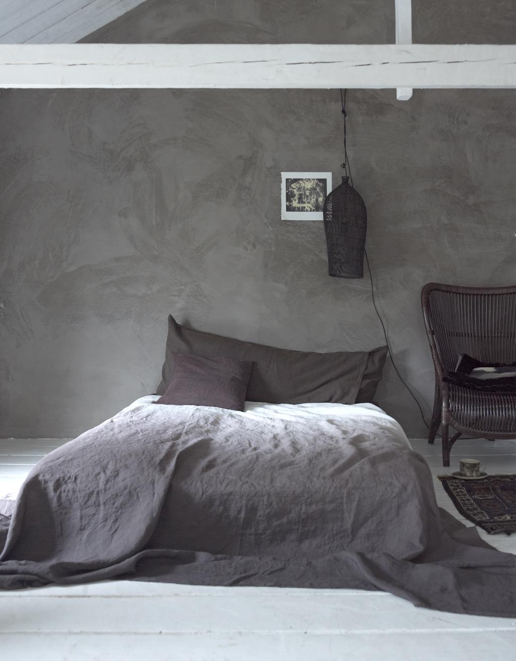 Slaapkamer: grijsbruin, diepbruin en chocoladebruin