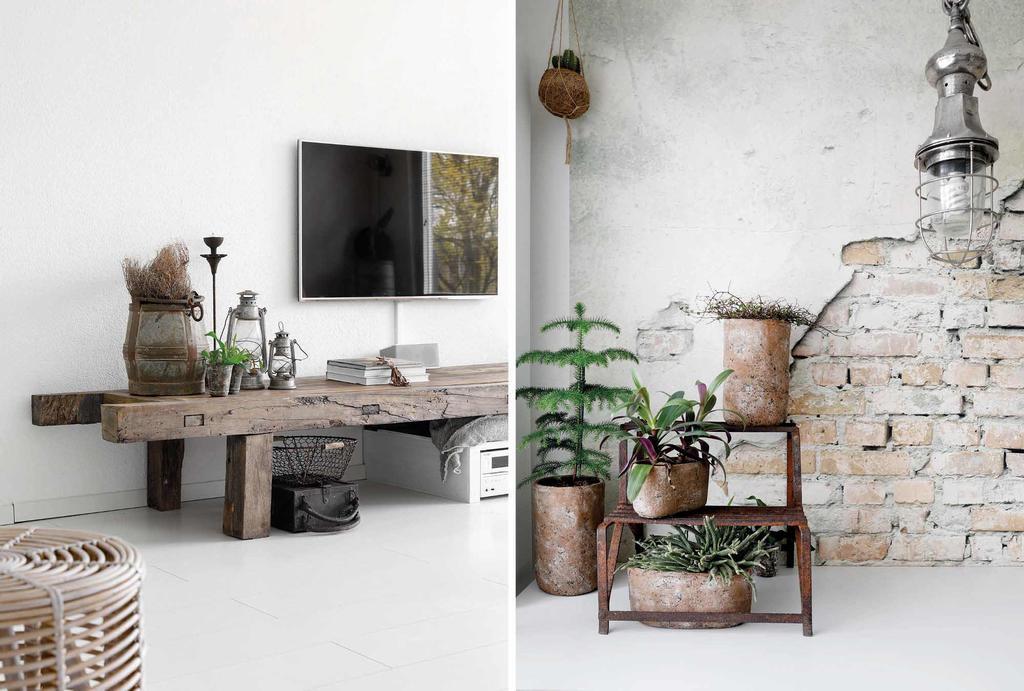 Vintage elementen als een plantentafel en een stoer tv dressoir