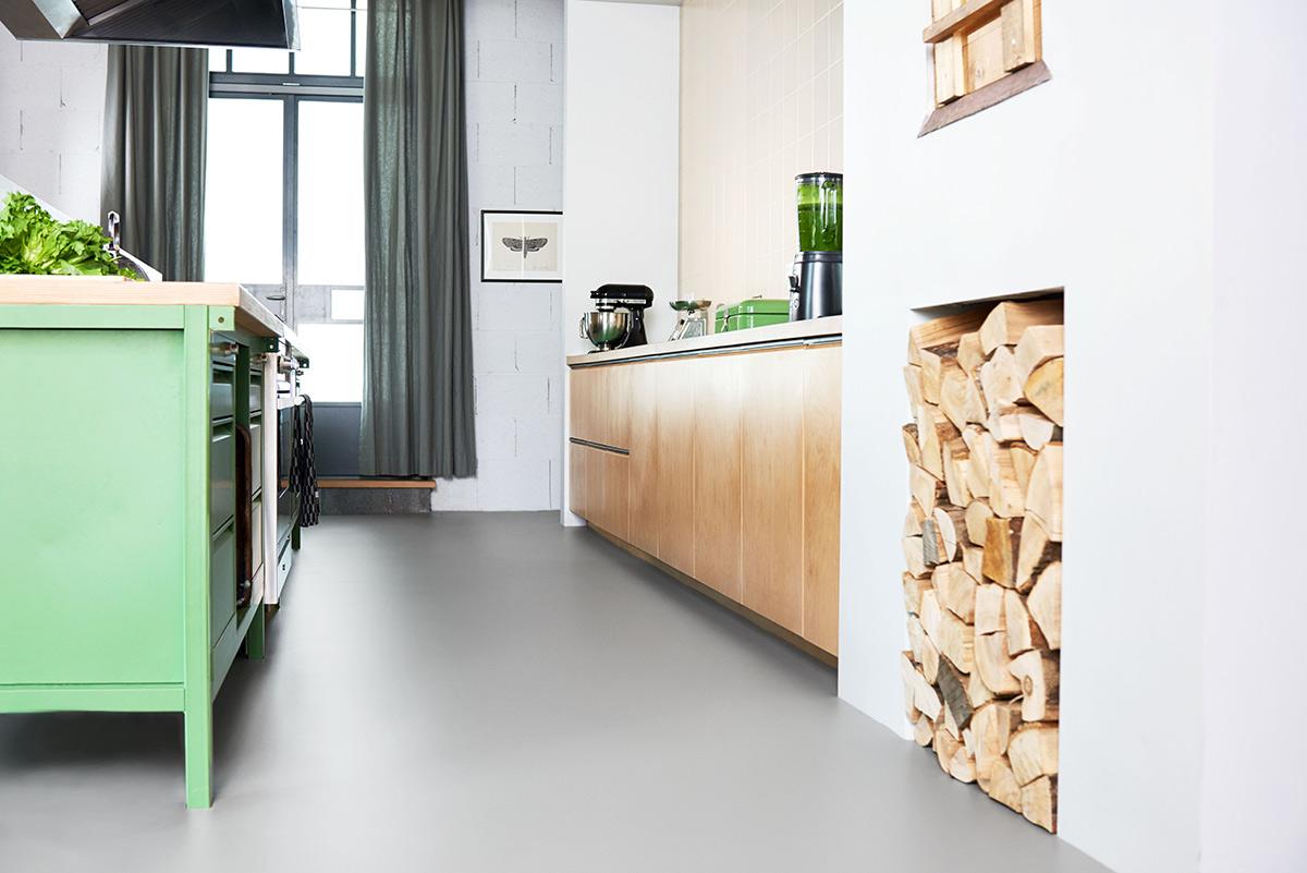 Marmoleum vloer in keuken