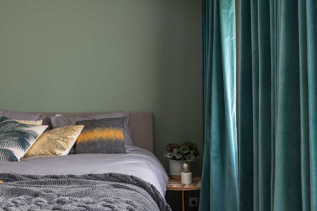 groen gordijn slaapkamer