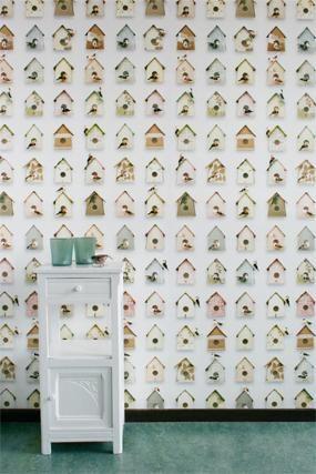 Behang Vogelhuisjes van Studio Ditte