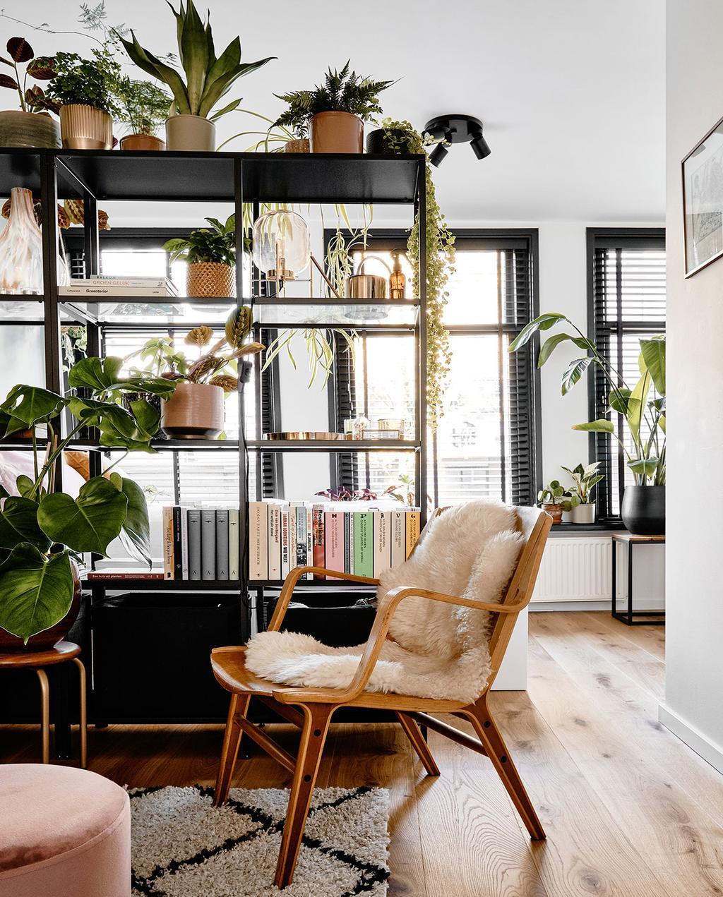 vtwonen 02-2021 | wandkast in studio met planten en stoel