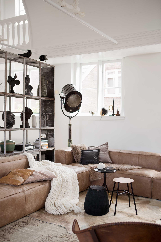 leer bank woonkamer wit bruin