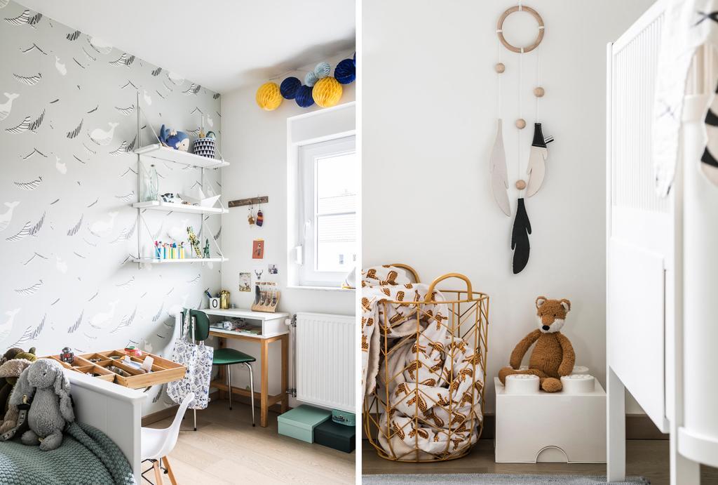 Kinderkamer met bureau en een kastje met knuffel