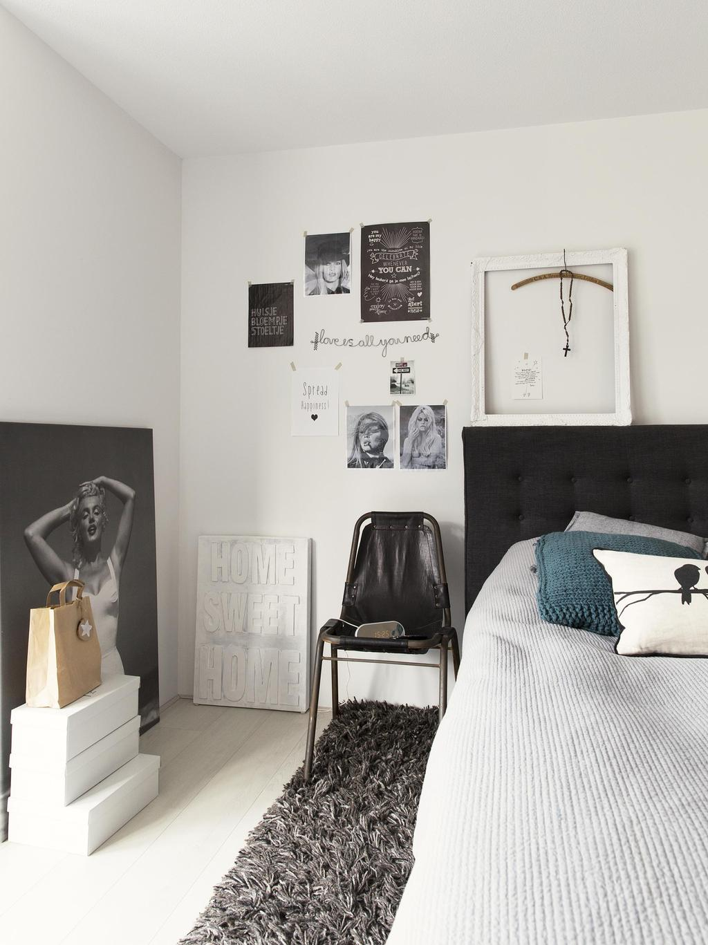 slaapkamer zwart-wit