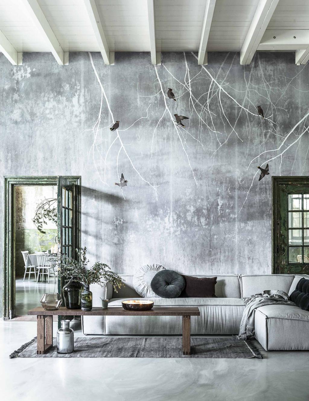 Kerst styling grijze woonkamer behangwand