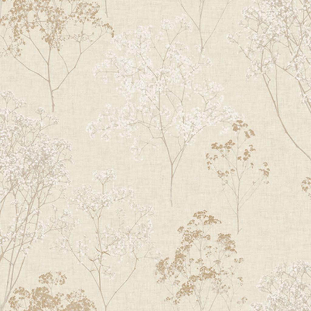 papierbehang beige bloemen