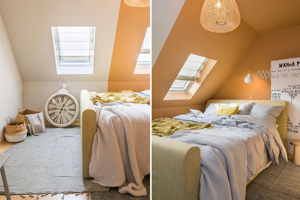 De slaapkamer van Nathalie uit de vierde aflevering van het tweede seizoen van 'Een frisse start met vtwonen'.
