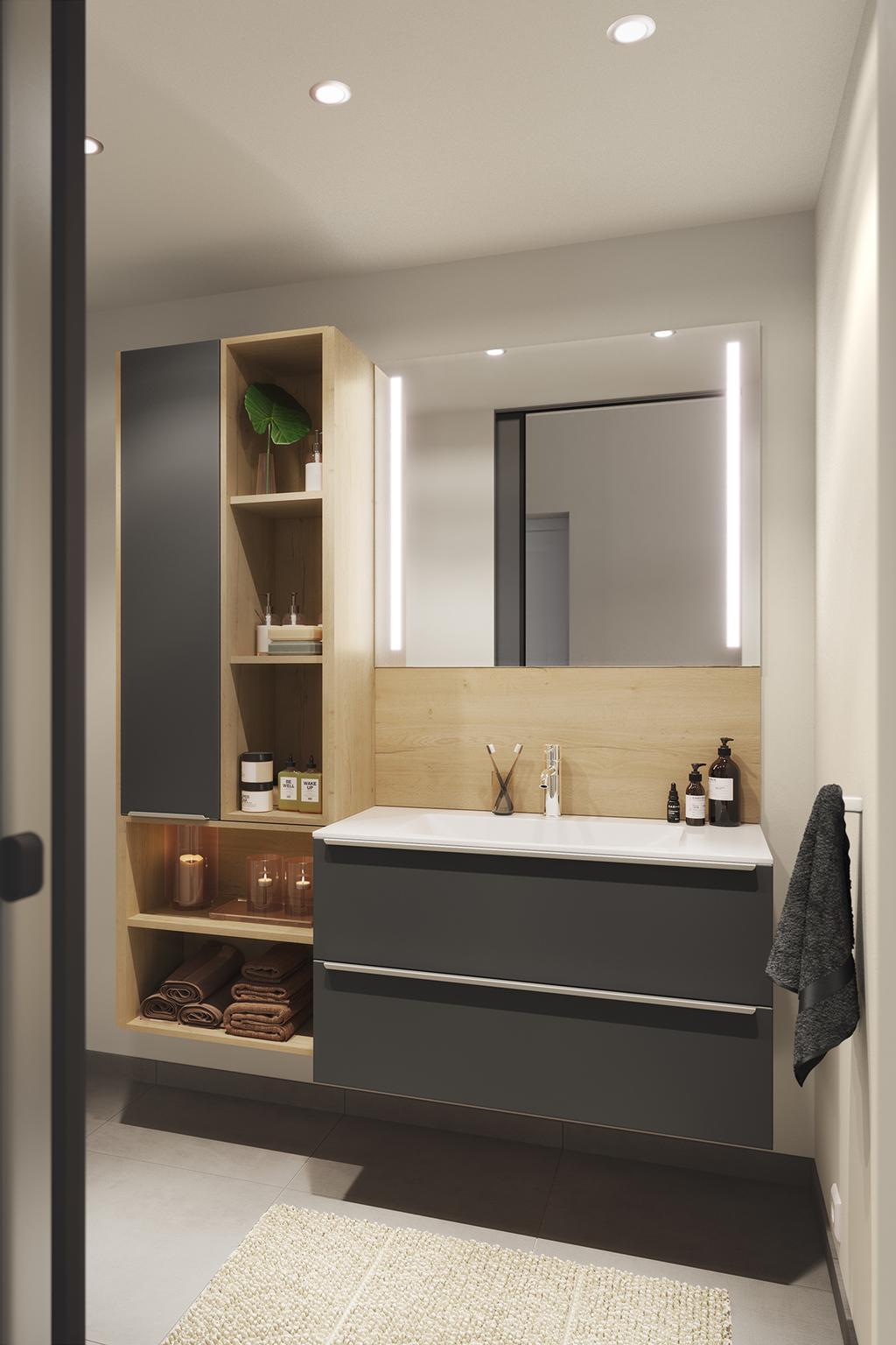 Badkamer met grijze kasten en houten planken | maatwerk èggo