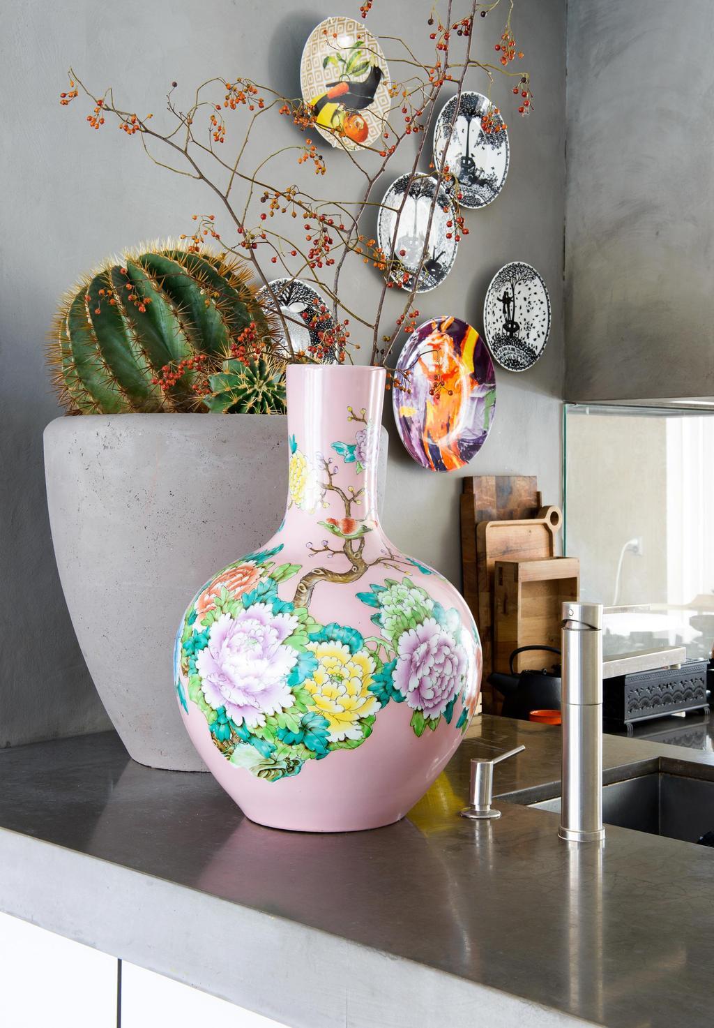 bloemenvaas roze