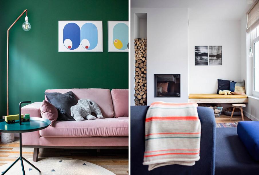 Canapé velours rose mur vert