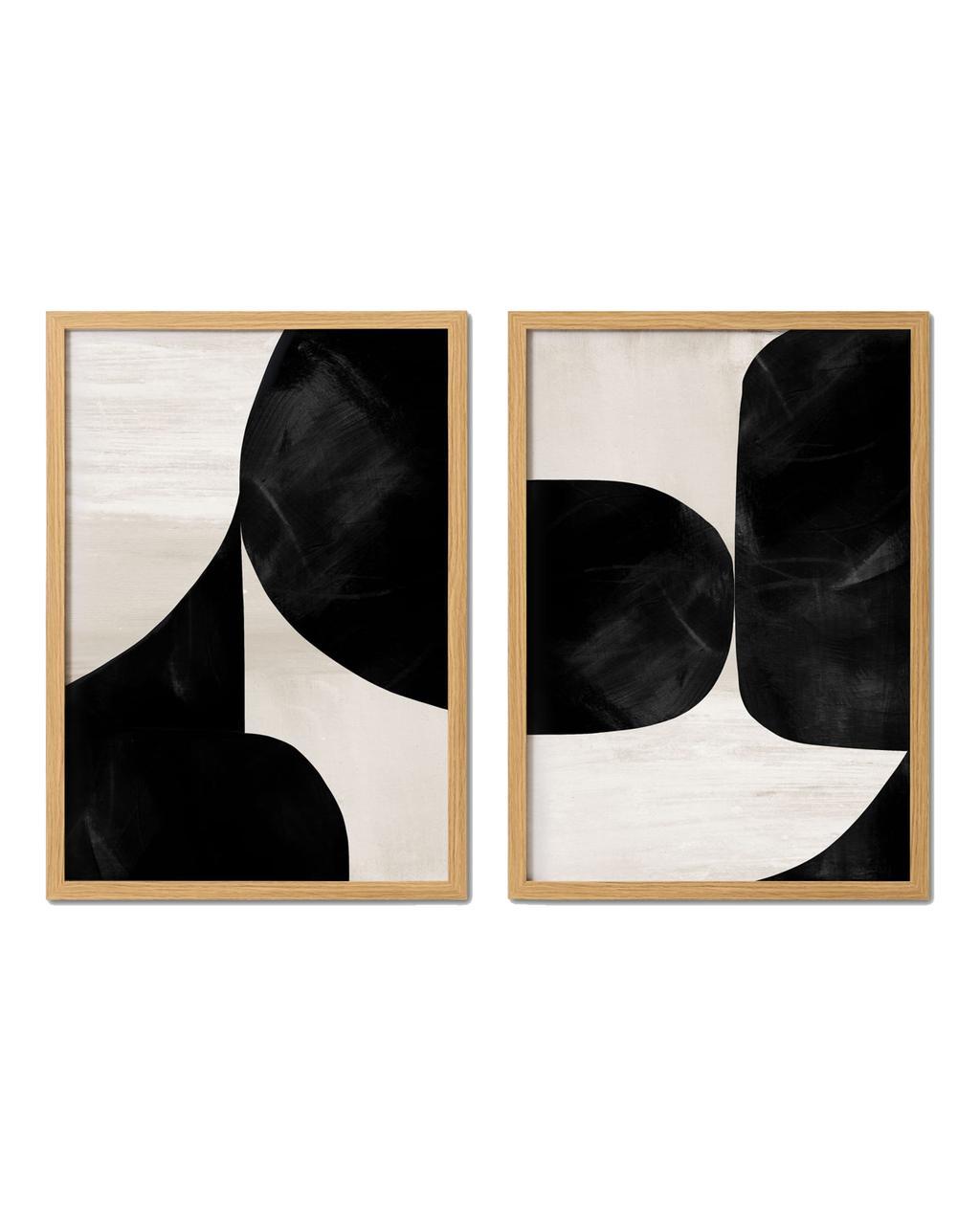 vtwonen juli 2021   schilderij twee gedeeltes zwart abstracte vormen