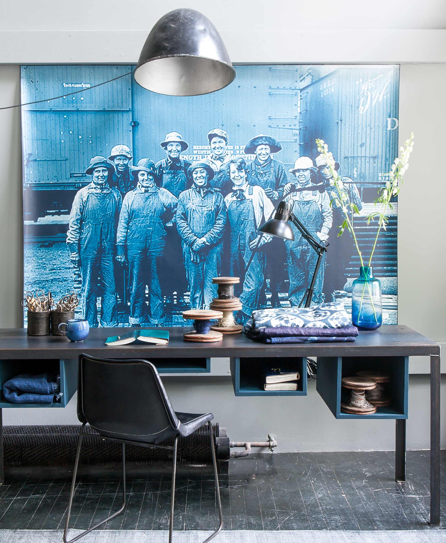 werkplek blauw poster