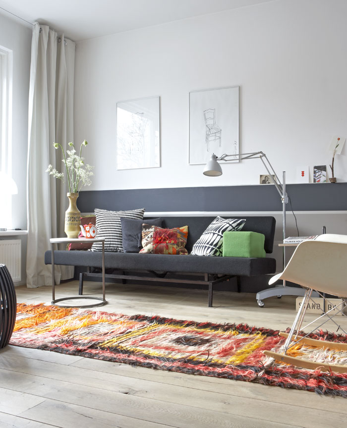 strak kleurrijk bank karpet
