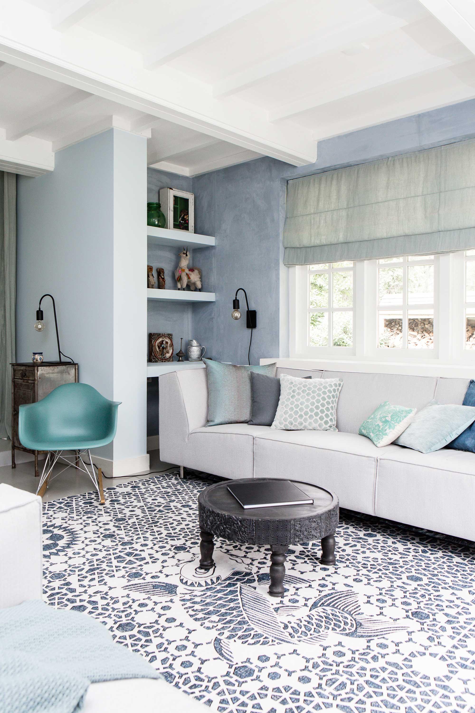 woonkamer wit blauw