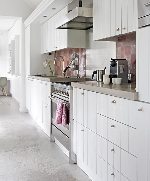 Roze accent in de keuken