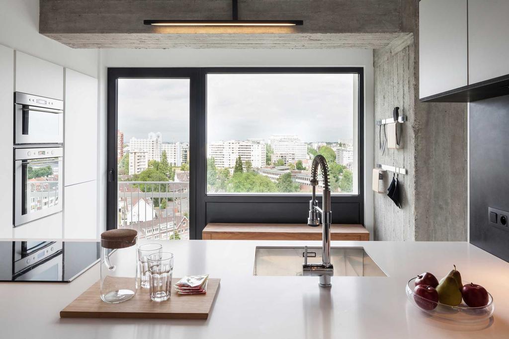 keuken kraan uitzicht glas