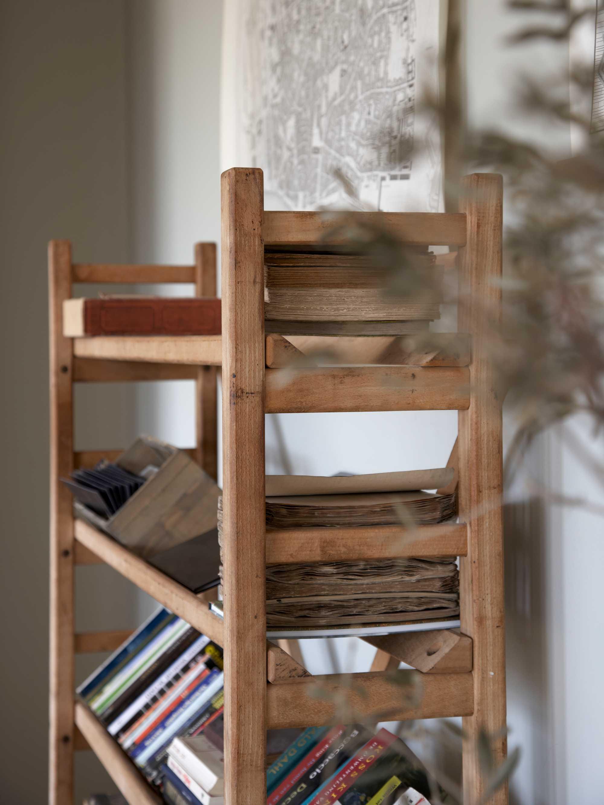 landelijk werken boekenrek hout